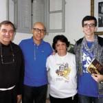 Frei André Becker, reitor do Santuário do Valongo, Valdelice e André Soares, colaboradores das ações do Santuário