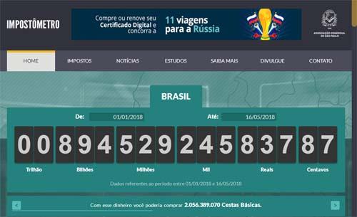Impostômetro da ACSP atingirá R$ 900 bilhões amanhã