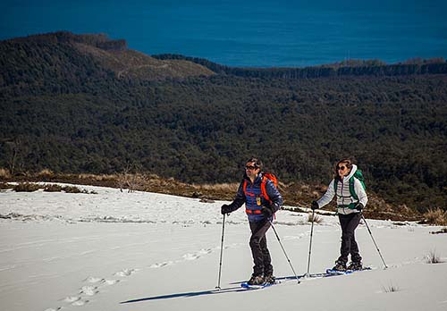 Caminhe com raquetes de neve até a base de vulcões no Chile