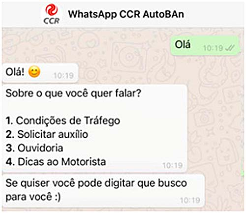 CCR AutoBAn entra no whats